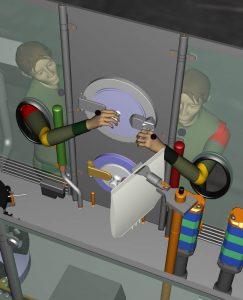 Mit virtuellem Bedienpersonal kann der Entwickler die Ergonomie einer Anlage testen, bevor sie physische Realität annimmt. (Bild: Bausch + Ströbel)