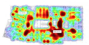 Mithilfe von Beacons lassen sich unter anderem Bewegungsmuster im Gebäude erkennen. (Bild: Drees & Sommer Gruppe)