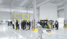 Im Technologiezentrum können Kunden Produkte wie fahrerlose Transportsysteme, Lagerlifte sowie Regale und Kästen in Augenschein nehmen. (Bild: SSI Schäfer)