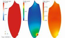 Druck- Geschwindigkeits- und Viskositätsverteilung im Befüllmaterial zum Zeitpunkt t1=0,001 ms, also unmittelbar nach Öffnen des Auslasses (Bilder: IAB)