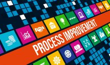 process improvement concept image with business icons and copyspace.