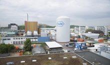 Die Montage zeigt, wie der fertige Kaltwasserspeicher am Roche-Standort Mannheim aussehen soll. (Bild: Roche)