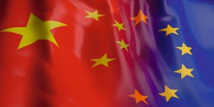 China and EU flag. 3d illustration