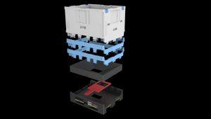 Der Magnum Optimum Hopper verfügt über eine verschließbare Bodenöffnung in seiner Plattform im ISO-Palettenmaß. Damit lassen sich Kleinteile gleichmäßig und in kontrollierten Mengen entnehmen. (Bild: Schoeller Allibert)