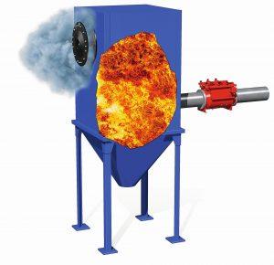 1_Berstscheibe zur Druckentlastung. Wenn es zu einer Explosion kommt, wird die Berstscheibe durch den Druckaufbau zerstört und leitet die entlastete Explosion kontrolliert gefahrlos ins Freie. (1)[1]