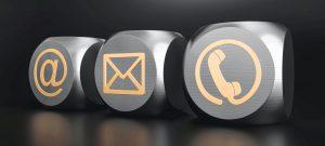 3D Kontakt Würfel  schwarzer Hintergrund