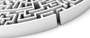 Labyrinth Eingang - Konzept Karriere, Erfolg oder Aufgabe