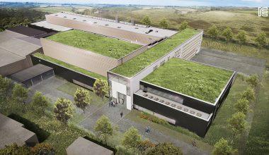 Außenansicht des geplanten Neubaus von Schott in Müllheim. Bild: IE / Schott